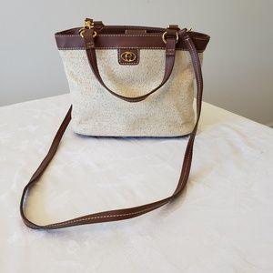 Straw Etienne Aigner handbag, tan leather trim